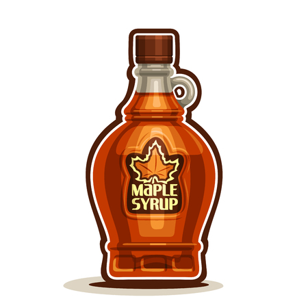 Maple Syrup Bottle, cartoon cruet sweet maple nectar with cap, souvenir glass bottle canadian syrup with leaf on label, isolated on white background, vermont homemade dessert for breakfast