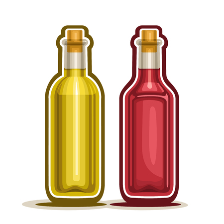 Red and Yellow Wine Bottles, container rose alcohol drink with wooden cork, glass bottle fruit apple vinegar and berry white grape juice, isolated on white background, fresh olive oil. Illustration