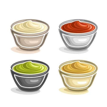 abstracta tazón de cerámica inmersión, lleno de diferentes salsa de tomate casera vestidor y conjunto sauce.Top picante de cuatro cuencos con crema condimento primer plano, aislado en fondo blanco.