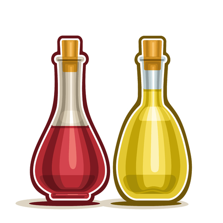 Karaf met rode en witte wijn azijn met kurk houten cap, cartoon cruet olijfolie op een witte achtergrond