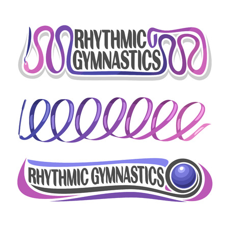 rhythmic gymnastic: abstract for rhythmic gymnastics consisting of purple ribbon with handle and gymnastic blue ball. Decorative sports equipment.