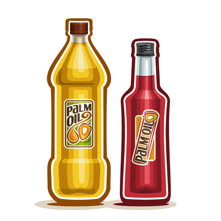 2 yellow plastic and red glass Bottle with pure Palm Oil fruits and label