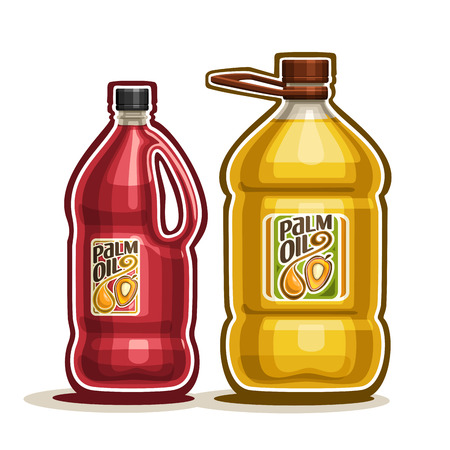 2 big yellow plastic Bottle with Palm Oil fruits and label