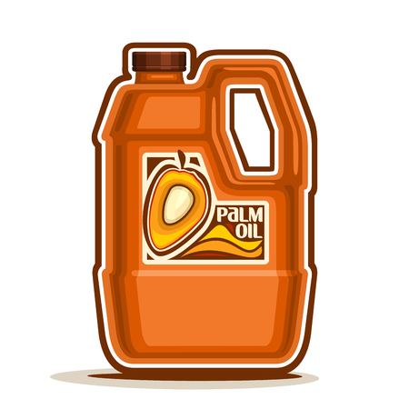 palm oil: big orange plastic Bottle with Palm Oil fruits and label