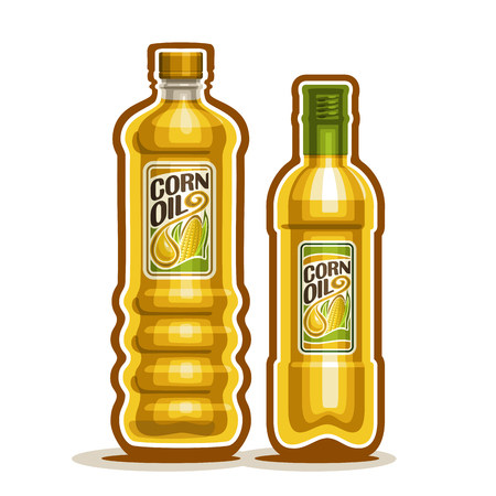 2 yellow plastic and glass Bottle with pure Corn Oil and label