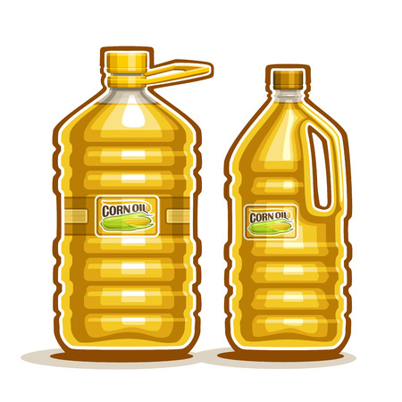 2 big yellow plastic Bottle with Corn Oil and label Illustration
