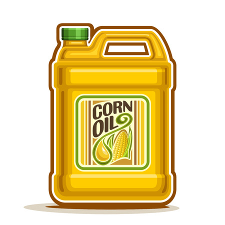cooking oil: big yellow plastic Bottle with Corn Oil and label Illustration