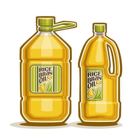 2 big yellow plastic Bottle with Rice Bran Oil and label