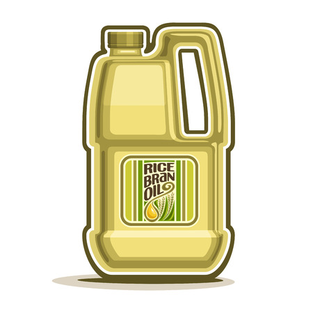 oilcan: big yellow plastic Bottle with Rice Bran Oil and label