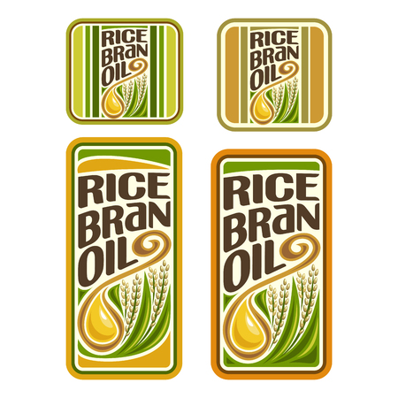 bran: Rice Bran Oil set labels for cooking rice bran oil