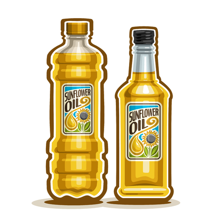 bottling: 2 yellow plastic and glass Bottle with pure Sunflower Oil and label