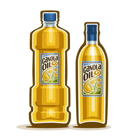 canola: 2 yellow plastic and glass Bottle with pure Canola Oil and label