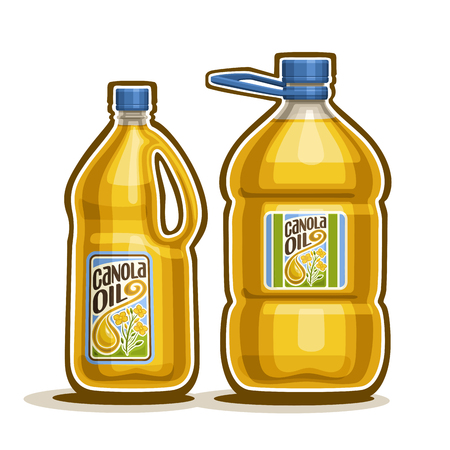 canola: 2 big yellow plastic Bottle with Canola Oil and label