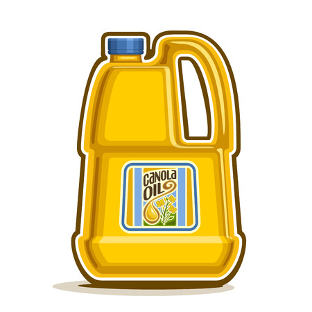 oilcan: big yellow plastic Bottle with Canola Oil and label