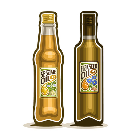 2 brown glass Bottle with pure Sesame Oil