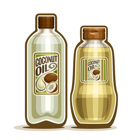2 yellow plastic and glass Bottle with pure Coconut Oil and label