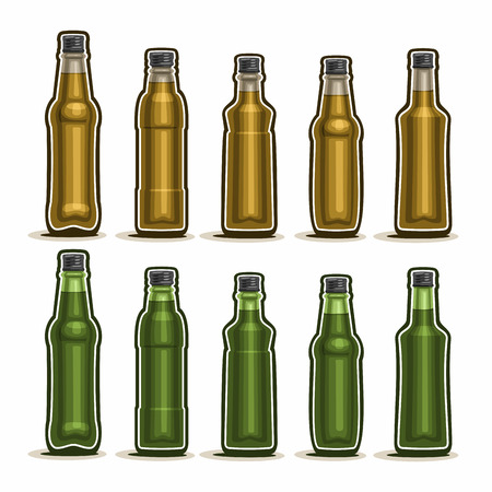 fizzy: Set Glass Bottles with metal cap for fizzy drink Illustration