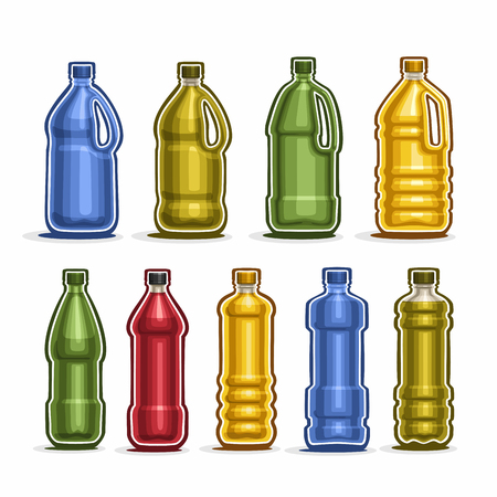 Set colored big Plastic Bottles with cap for water Illustration