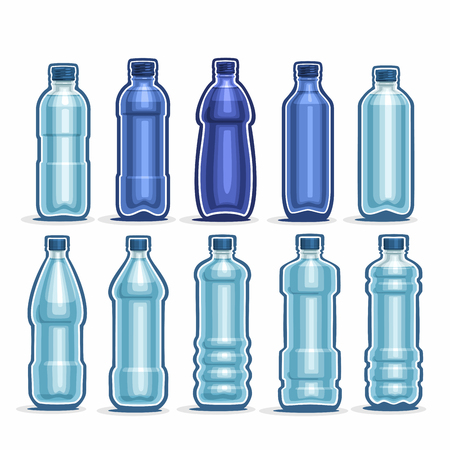 mineral: Set blue Plastic Bottles with cap for mineral Water
