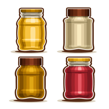 Set logo Glass different Jars with metal cap for honey or mustard, collection of 4 plastic yellow and red container jar with lid for strawberry or raspberry jam isolated on white background.