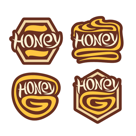 japanese dessert: logo Honey, set labels for honeyed dessert in japanese style, consisting of icons yellow dripping swirl, sign honey honeycomb, emblem decorative abstract hexagon isolated on white background.