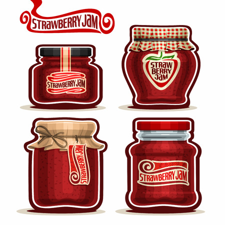 checkered label: Strawberry Jam in glass Jars with paper lid, red Pot home made strawberry jams, twine rope bow, homemade fruit jam jar, berry jelly pot with label, checkered cloth cap, isolated on white.