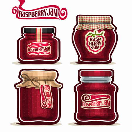 checkered label: Raspberry Jam in glass Jars with paper cover, red Pot home made raspberry jams, twine rope bow, homemade fruit jam jar, berry jelly pot with label, checkered cloth cap, isolated on white.