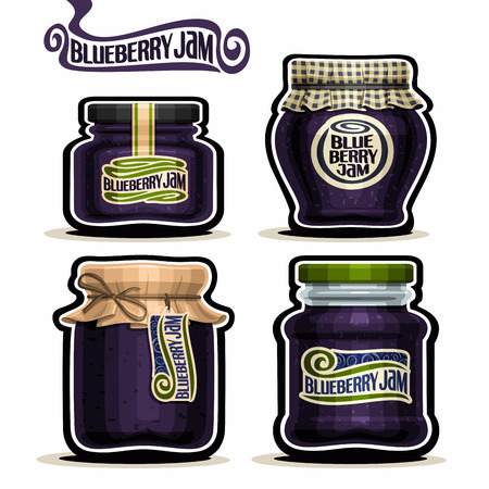checkered label: Blueberry Jam in glass Jars with paper lid cover, blue Pot home made blueberry jams, twine rope bow, homemade fruit jam jar, berry jelly pot with label, checkered cloth, isolated on white.