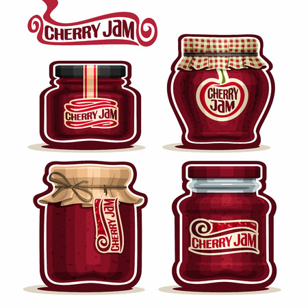 checkered label: Cherry Jam in glass Jars with paper lid cover, red Pot home made cherry berry jams, twine rope bow, homemade fruit jam jar, jelly pot with label, checkered cloth cap, isolated on white.