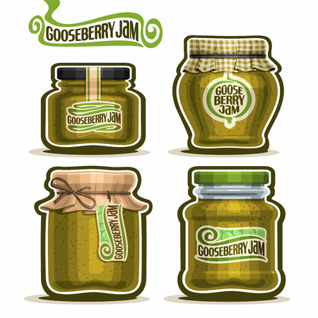 jams: Gooseberry Jam in glass Jars with paper lid, green Pot home made gooseberry jams, twine rope bow, homemade fruit jam jar, berry jelly pot with label, checkered cloth cap isolated on white. Illustration