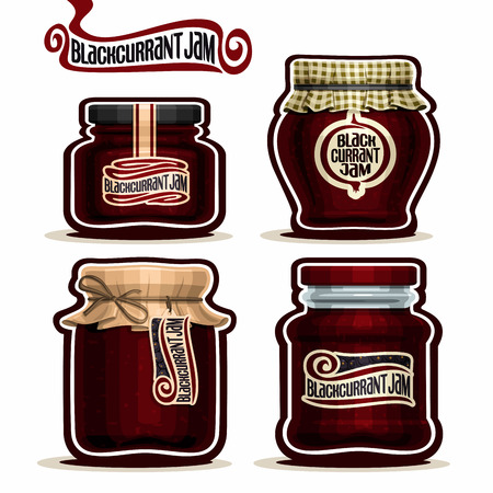 checkered label: Blackcurrant Jam in glass Jars with paper lid, Black Currant Pot home made blackcurrant berry jams, homemade black currant fruit jam jar, pot label, checkered cloth cap, isolated on white.