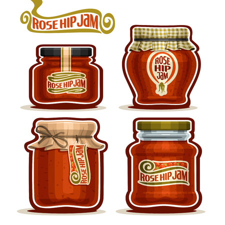 checkered label: Rose Hip Jam in Jars with paper lid, Pot home made Rosehip jams, twine rope bow, homemade rose hip fruit jam jar, rosehip berry jelly pot with label, checkered cloth cap, isolated on white Illustration