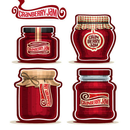 confiture: Cranberry Jam in glass Jars with paper lid cover, red Pot home made cranberry jams, twine rope, homemade fruit jam jar, berry jelly pot with label, checkered cloth cap, isolated on white. Illustration