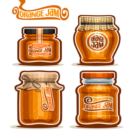 jams: Orange Jam in glass Jars with paper lid, rustic Pot home made orange zest jams, twine rope bow, homemade fruit jam jar, farm jelly pot with label, checkered cloth cap, isolated on white. Illustration
