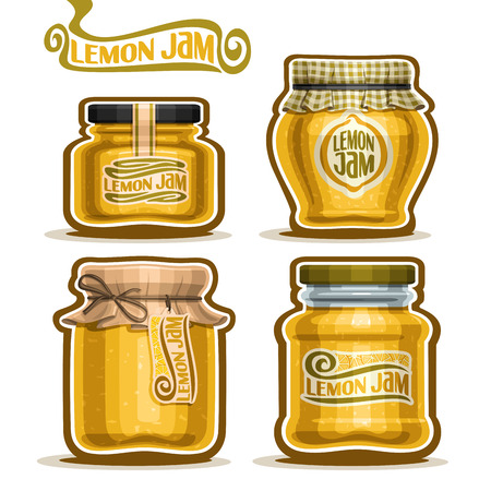 checkered label: Lemon Jam in glass Jars with paper lid, yellow rustic Pot home made lemon jams, twine rope bow, homemade fruit jam jar, citron jelly pot with label, checkered cloth cap, isolated on white. Illustration