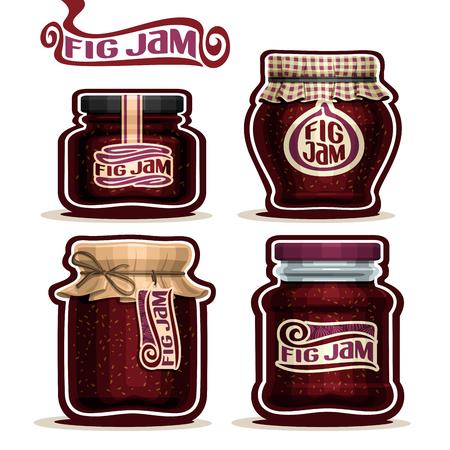 Fig Jam dans des bocaux en verre avec couvercle de couverture de papier, la maison de Pot violet confitures de graines de figue, corde de ficelle arc, mis maison pot de confiture de fruits, pot de gelée de ferme avec étiquette, vérifié casquette de drap, isolé sur blanc