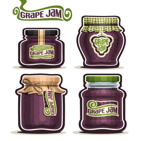 Grape Jam dans des bocaux en verre avec couvercle de couverture de papier, la maison Pot confitures bleu de raisin, de la ficelle corde arc, set pot de confiture de fruits maison, pot de gelée de ferme avec étiquette, casquette de drap damier, isolé sur blanc.