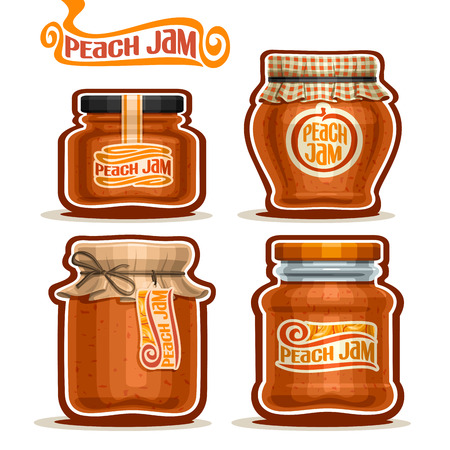 checkered label: Vector Peach Jam in glass Jars with paper cover lid, rustic Pot home made peach jams, twine rope bow, set homemade fruit jam jar, farm jelly pot with label, checkered cloth cap, isolated on white