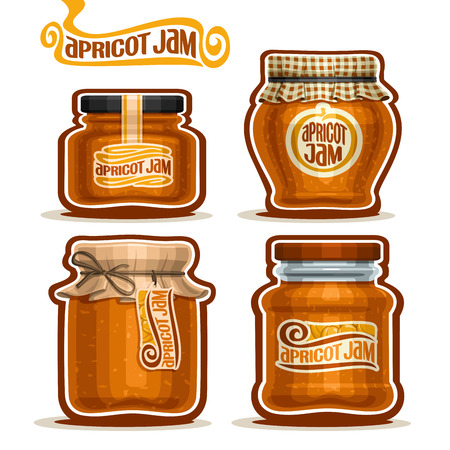 jams: Vector Apricot Jam in glass Jars with paper cover lid, rustic Pot home made apricot jams, twine rope bow, set homemade fruit jam jar, jelly pot with label, checkered cloth cap, isolated on white. Illustration