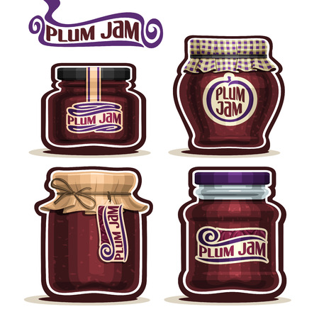 checkered label: Vector Plum Jam in glass Jars with paper cover lid, rustic Pot home made plum jams, twine rope bow, set homemade fruit jam jar, purple jelly pot with label, checkered cloth cap, isolated on white