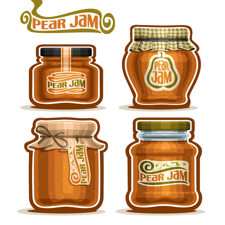 checkered label: Vector Pear Jam in glass Jars with paper cover lid, rustic Pot home made pear jams, twine rope bow, set homemade fruit jam jar, farm jelly pot with label, checkered cloth cap, isolated on white.