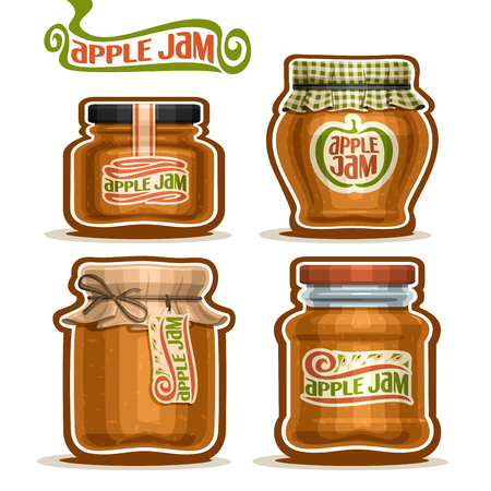 confiture: Vector Apple Jam in glass Jars with paper cover lid, rustic Pot home made apple jams, twine rope bow, set homemade fruit jam jar, farm jelly pot with label, checkered cloth cap, isolated on white