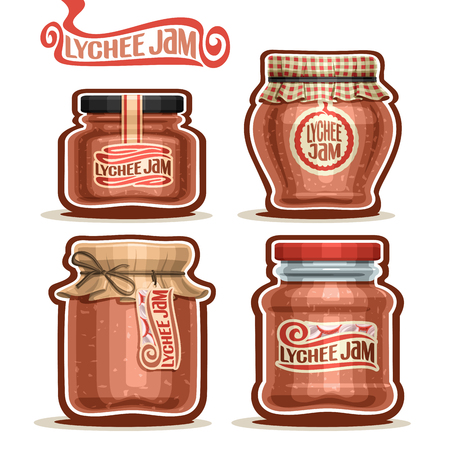 checkered label: Vector Lychee Jam in Jars with paper lid, rustic Pot home made asian lychee jams, twine bow, set homemade litchi fruit jam jar, farm oriental dessert with label, checkered cloth isolated on white