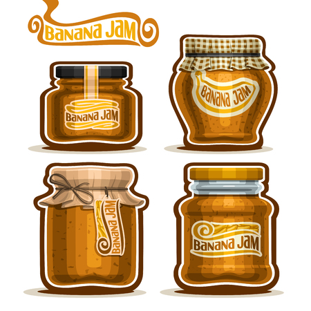 checkered label: Vector Banana Jam in glass Jars with paper cover lid, rustic Pot home made banana jams, twine rope bow, homemade fruit jam jar, farm jelly pot with label, checkered cloth cap, isolated on white.