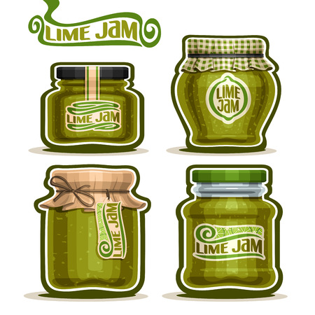 confiture: Vector Lime Jam in Jars with paper cover lid, rustic green Pot home made citrus lime jams, twine rope bow, homemade fruit jam jar, farm jelly pot with label, checkered cloth cap isolated on white
