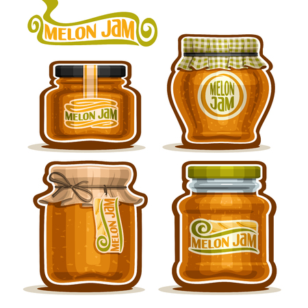 checkered label: Vector Melon Jam in glass Jars with paper cover lid, rustic Pot home made melon jams, twine rope bow, set homemade fruit jam jar, farm jelly pot with label, checkered cloth cap, isolated on white Illustration