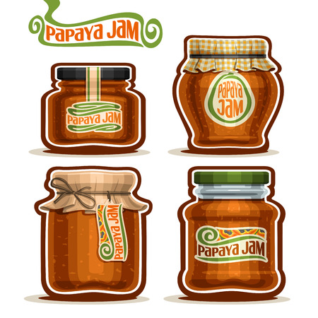 checkered label: Vector Papaya Jam in glass Jars with paper cover lid, rustic Pot home made papaya jams, twine rope bow, homemade fruit jam jar, farm jelly pot with label, checkered cloth cap, isolated on white.