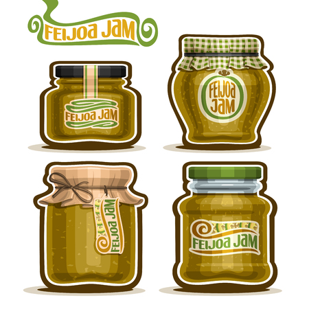 confiture: Vector Feijoa Jam in glass Jars with paper cover lid, rustic Pot home made feijoa jams, twine rope bow, homemade fruit jam jar, farm jelly pot with label, checkered cloth cap, isolated on white. Illustration