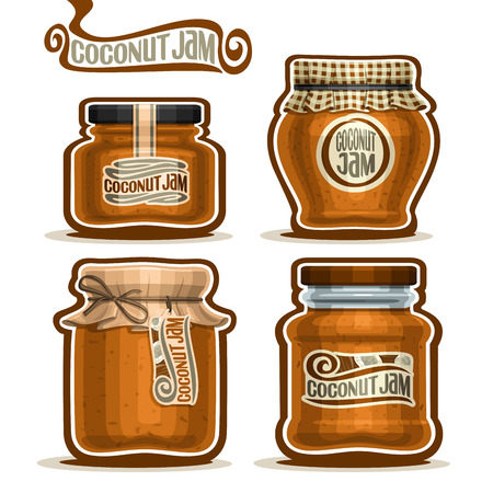 checkered label: Vector Coconut Jam in glass Jars with paper cover lid, rustic Pot home made coconut jams, twine rope bow, homemade fruit jam jar, farm jelly pot with label, checkered cloth cap, isolated on white Illustration