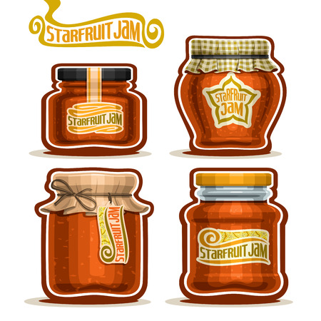checkered label: Vector Starfruit Jam in Jars with paper lid, Pot home made tropical starfruit jams, twine bow, homemade star fruit exotic carambola jam jar, pot with label, checkered cloth, isolated on white. Illustration